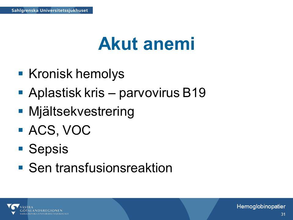 Akut anemi  Kronisk hemolys  Aplastisk kris – parvovirus B19  Mjältsekvestrering  ACS, VOC  Sepsis  Sen transfusionsreaktion Hemoglobinopatier 31