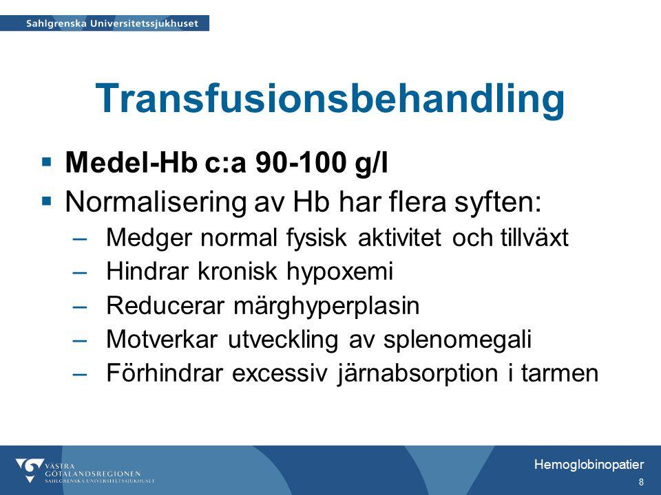 Hemoglobinopatier 9 Komplikationer av järnupplagring  Endokrina –retarderad tillväxt –störd, försenad pubertetsutveckling –hypothyroidism –hypoparathyroidism –diabetes mellitus  Hjärtbiverkningar –arytmi –hjärtsvikt  Levercirrhos  Infektioner
