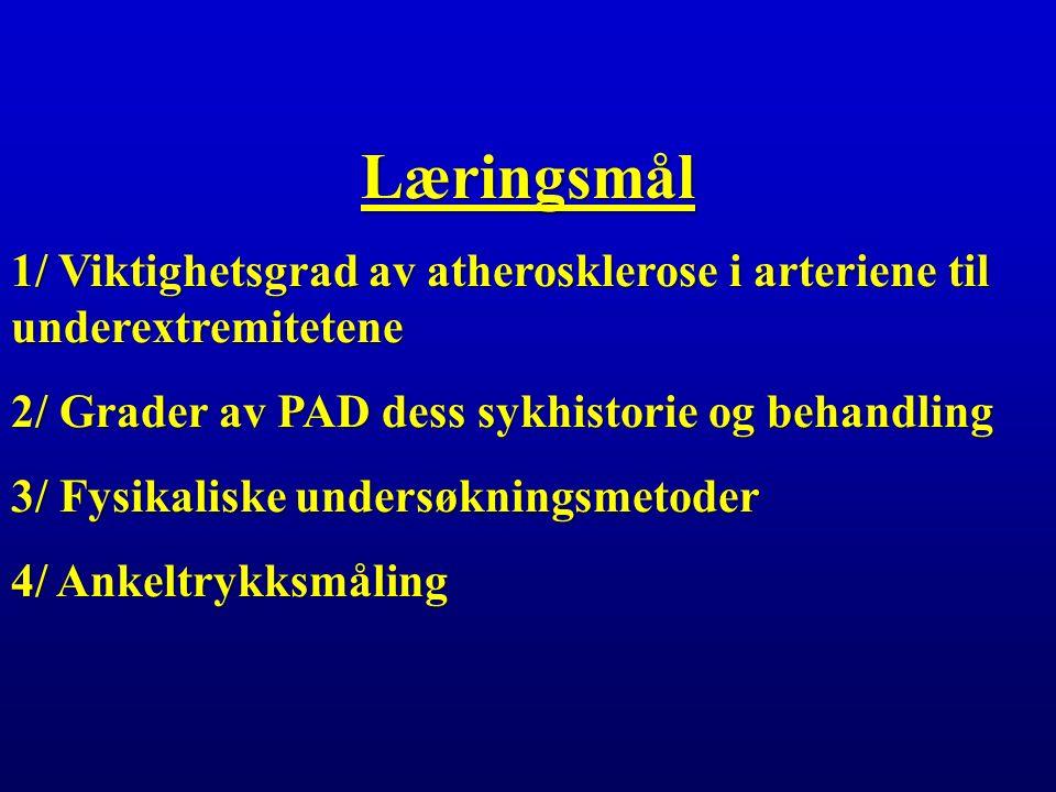 Læringsmål 1/ Viktighetsgrad av atherosklerose i arteriene til underextremitetene 2/ Grader av PAD dess sykhistorie og behandling 3/ Fysikaliske undersøkningsmetoder 4/ Ankeltrykksmåling