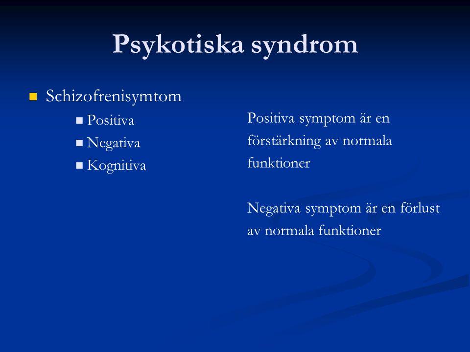 Psykotiska syndrom Antipsykotisk effekt - begränsningar Tveksam effekt mot negativa och kognitiva symtom En av tre har ingen eller liten hjälp Klozapin sista alternativet Biverkningar vanliga Extrapyramidala symtom (EPS) Akatisi: (=kan inte sitta stilla) rastlöshet, myror i benen , oro Dystoni: akuta kramper Parkinsonism: stelhet, långsamhet, startsvårigheter, (skakningar) Tardiv dyskinesi: ofrivilliga rörelser, grimaser