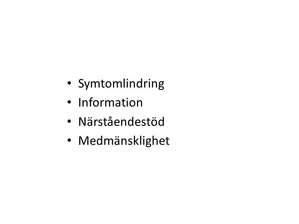 Symtomlindring Information Närståendestöd Medmänsklighet