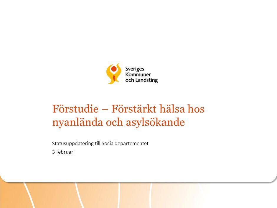Målsättningar och syfte för gemensam förstudie kring förstärkt hälsa hos nyanlända Förstudie för att förbättra hälsan hos nyanlända och asylsökande Landstinget i Värmland är pilotlandsting Uppdrag Målsättning Syfte Tillsammans utveckla och testa arbetssätt och verktyg – öka genomförandegraden av hälsoundersökningar – skalbara insatser för att möta psykisk ohälsa Ska kunna spridas nationellt efter förstudiens slut Skapa bättre förutsättningar för tidiga och förebyggande insatser för de som behöver Öka transkulturell kompetens i specialistvården och tillgång till traumaverksamheter ARBETSMATERIAL 1