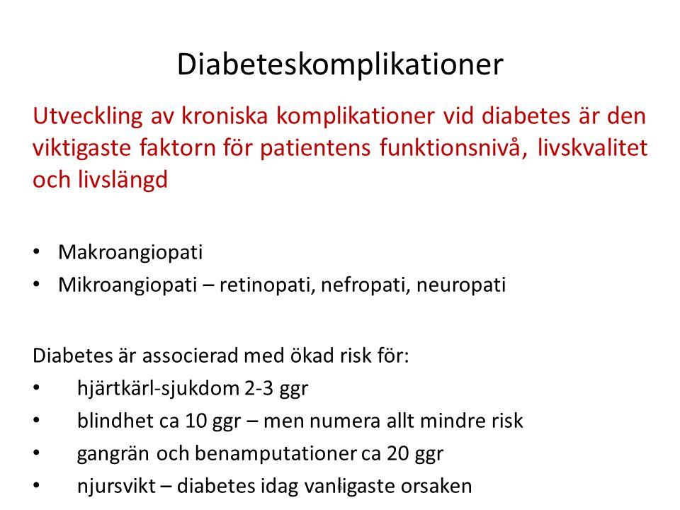 6 Diabeteskomplikationer Utveckling av kroniska komplikationer vid diabetes är den viktigaste faktorn för patientens funktionsnivå, livskvalitet och livslängd Makroangiopati Mikroangiopati – retinopati, nefropati, neuropati Diabetes är associerad med ökad risk för: hjärtkärl-sjukdom 2-3 ggr blindhet ca 10 ggr – men numera allt mindre risk gangrän och benamputationer ca 20 ggr njursvikt – diabetes idag vanligaste orsaken