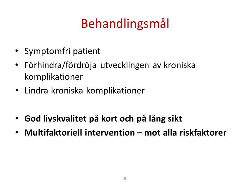 8 Behandlingsmål Symptomfri patient Förhindra/fördröja utvecklingen av kroniska komplikationer Lindra kroniska komplikationer God livskvalitet på kort och på lång sikt Multifaktoriell intervention – mot alla riskfaktorer