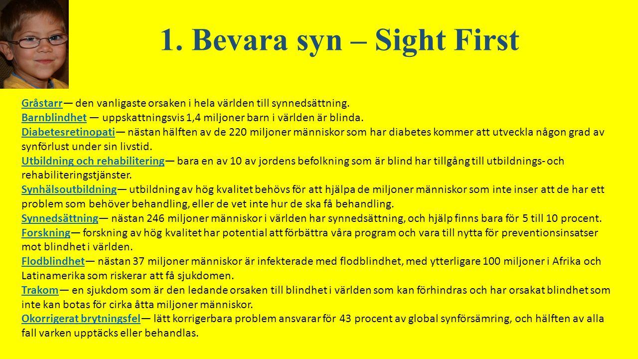 1. Bevara syn – Sight First GråstarrGråstarr— den vanligaste orsaken i hela världen till synnedsättning. BarnblindhetBarnblindhet — uppskattningsvis 1