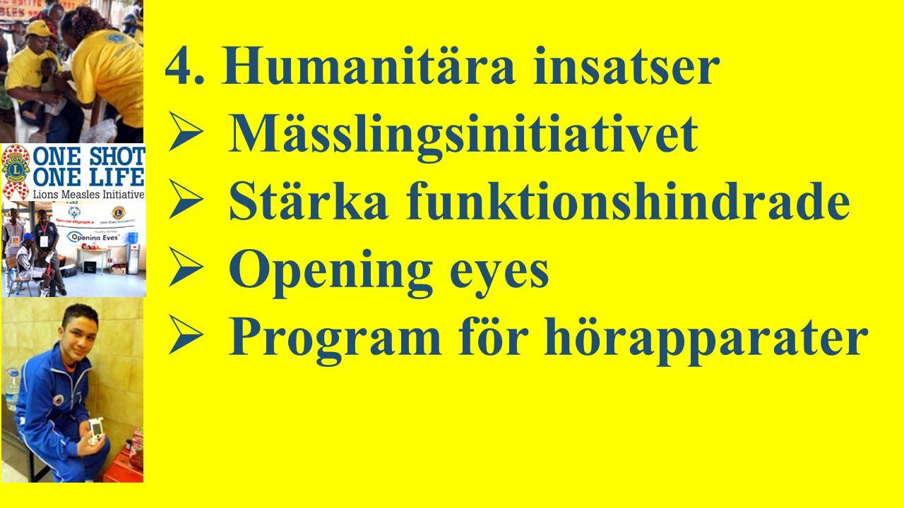 4. Humanitära insatser  Mässlingsinitiativet  Stärka funktionshindrade  Opening eyes  Program för hörapparater