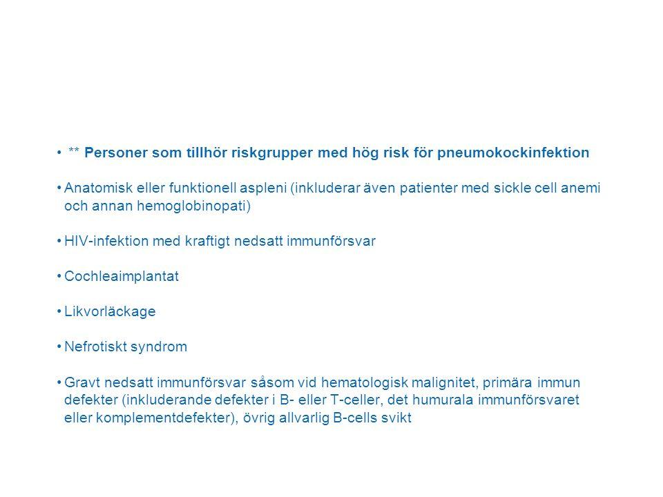 ** Personer som tillhör riskgrupper med hög risk för pneumokockinfektion Anatomisk eller funktionell aspleni (inkluderar även patienter med sickle cell anemi och annan hemoglobinopati) HIV-infektion med kraftigt nedsatt immunförsvar Cochleaimplantat Likvorläckage Nefrotiskt syndrom Gravt nedsatt immunförsvar såsom vid hematologisk malignitet, primära immun defekter (inkluderande defekter i B- eller T-celler, det humurala immunförsvaret eller komplementdefekter), övrig allvarlig B-cells svikt