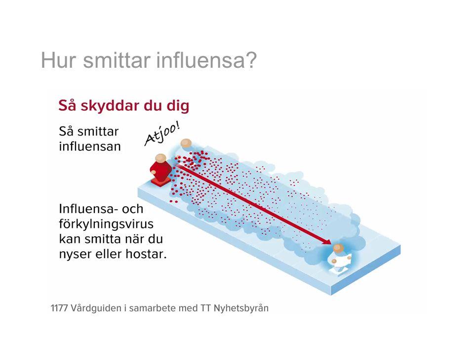 Vad är svår influensa Allvarlig sjukdom – Pneumonit (lunginflammation p g a influensavirus) Komplikationer till influensa – Bakteriella infektioner Lunginflammation Öroninflammation Bihåleinflammation Försämring av andra sjukdomar – Diabetes – Astma – KOL – Hjärtsjukdom Kärlkramp Hjärtsvikt