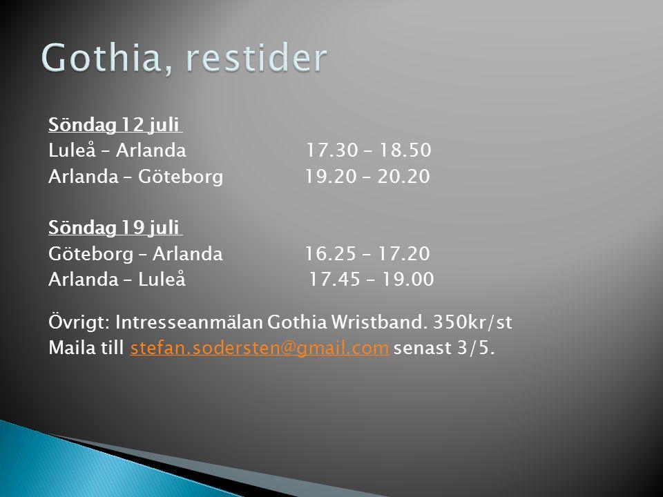 Söndag 12 juli Luleå – Arlanda 17.30 – 18.50 Arlanda – Göteborg 19.20 – 20.20 Söndag 19 juli Göteborg – Arlanda 16.25 – 17.20 Arlanda – Luleå 17.45 – 19.00 Övrigt: Intresseanmälan Gothia Wristband.