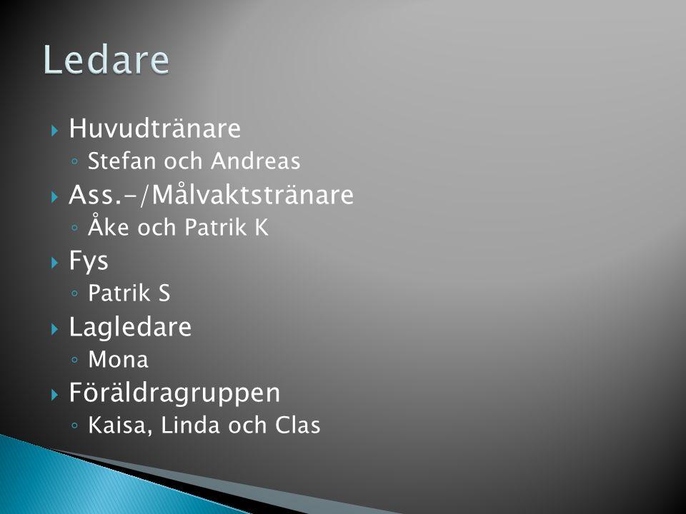  Huvudtränare ◦ Stefan och Andreas  Ass.-/Målvaktstränare ◦ Åke och Patrik K  Fys ◦ Patrik S  Lagledare ◦ Mona  Föräldragruppen ◦ Kaisa, Linda och Clas