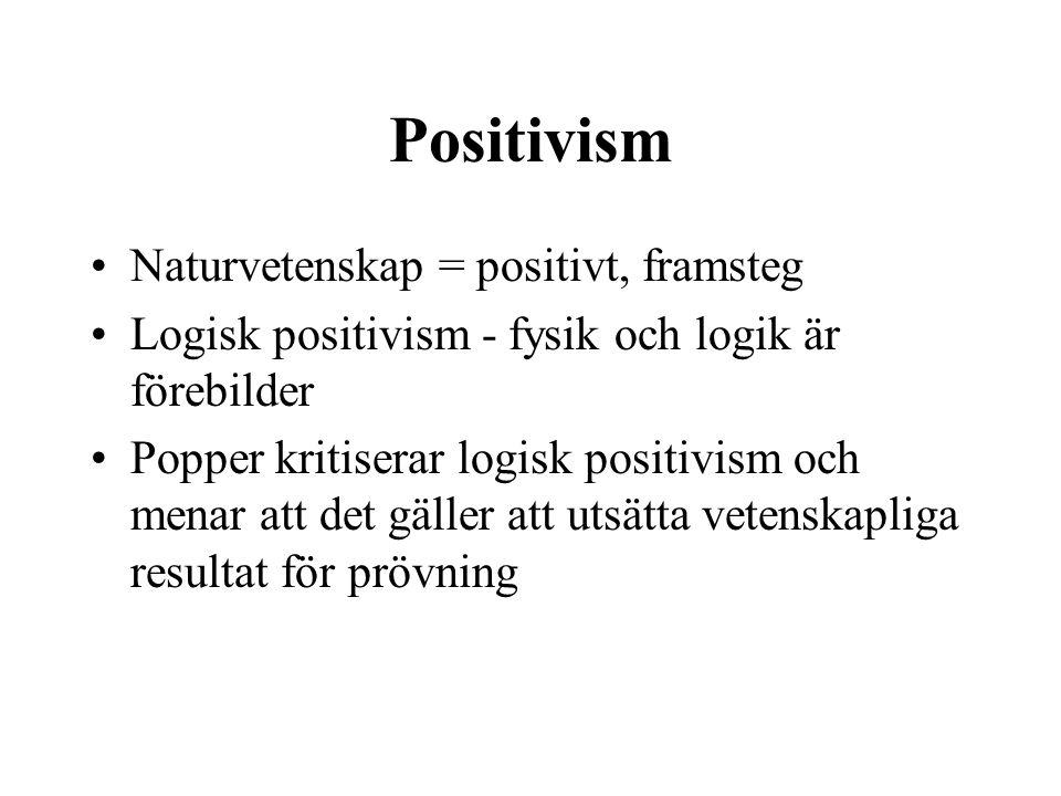 Positivism Naturvetenskap = positivt, framsteg Logisk positivism - fysik och logik är förebilder Popper kritiserar logisk positivism och menar att det gäller att utsätta vetenskapliga resultat för prövning