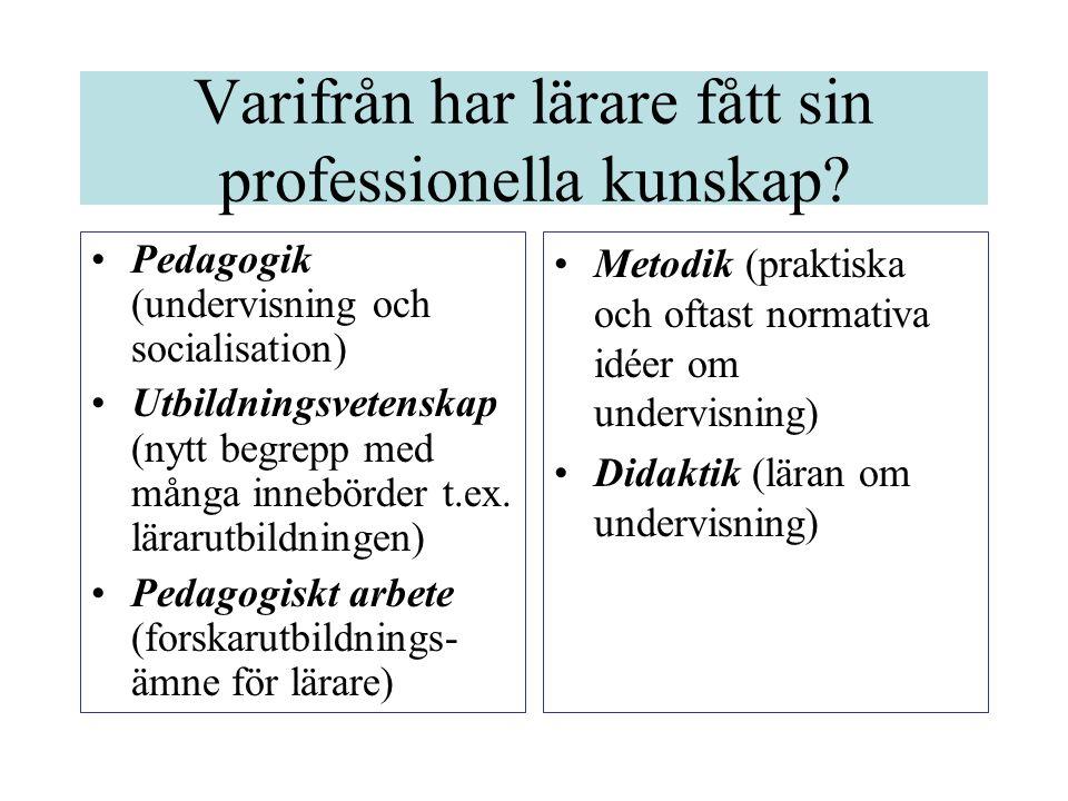 Varifrån har lärare fått sin professionella kunskap.