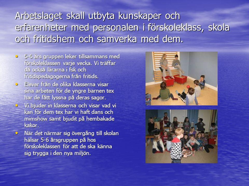 Arbetslaget skall utbyta kunskaper och erfarenheter med personalen i förskoleklass, skola och fritidshem och samverka med dem. 5-6 års gruppen leker t