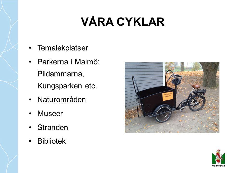 Temalekplatser Parkerna i Malmö: Pildammarna, Kungsparken etc. Naturområden Museer Stranden Bibliotek VÅRA CYKLAR