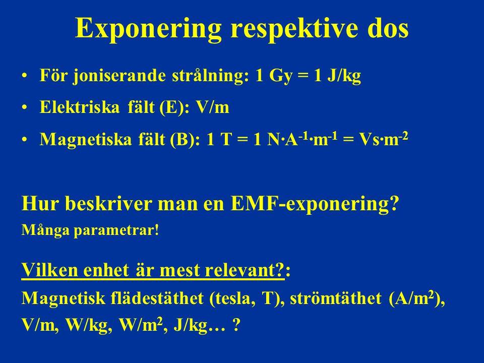 Exponering respektive dos För joniserande strålning: 1 Gy = 1 J/kg Elektriska fält (E): V/m Magnetiska fält (B): 1 T = 1 N∙A -1 ∙m -1 = Vs∙m -2 Hur beskriver man en EMF-exponering.