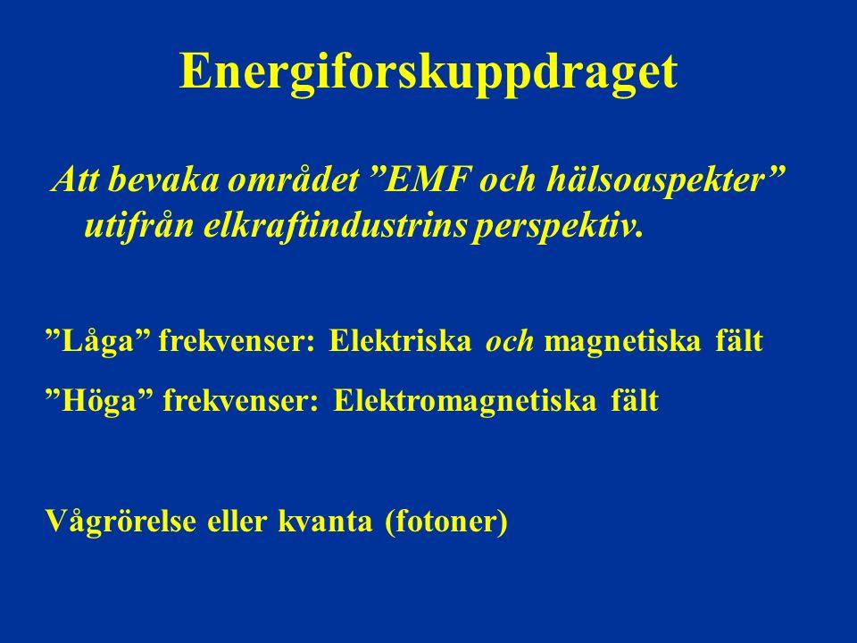 """Energiforskuppdraget Att bevaka området """"EMF och hälsoaspekter"""" utifrån elkraftindustrins perspektiv. """"Låga"""" frekvenser: Elektriska och magnetiska fäl"""