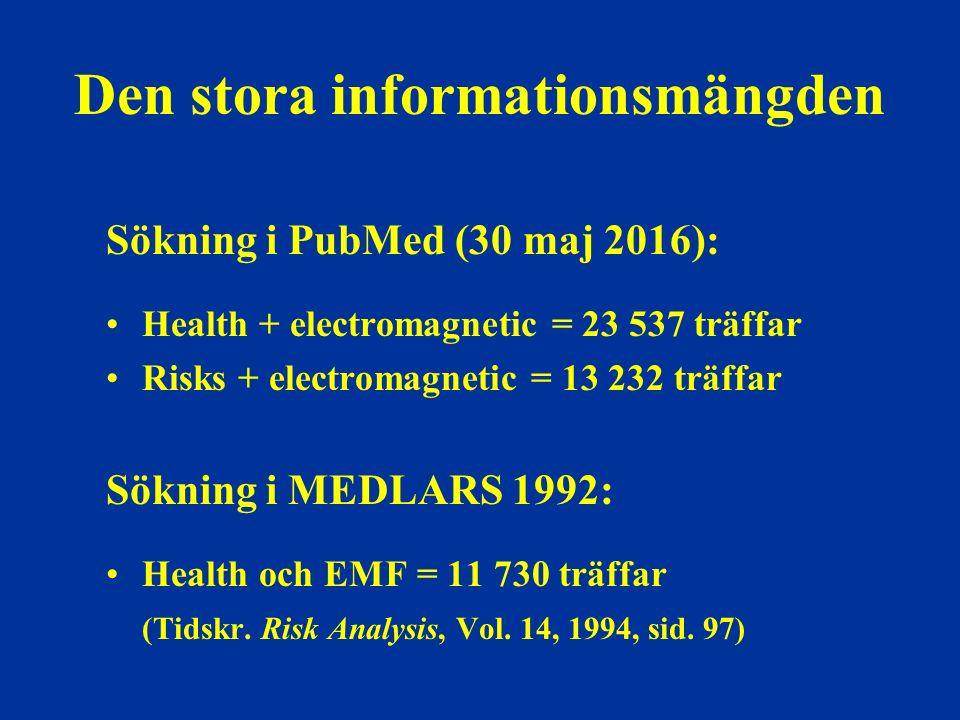 Den stora informationsmängden Sökning i PubMed (30 maj 2016): Health + electromagnetic = 23 537 träffar Risks + electromagnetic = 13 232 träffar Sökning i MEDLARS 1992: Health och EMF = 11 730 träffar (Tidskr.
