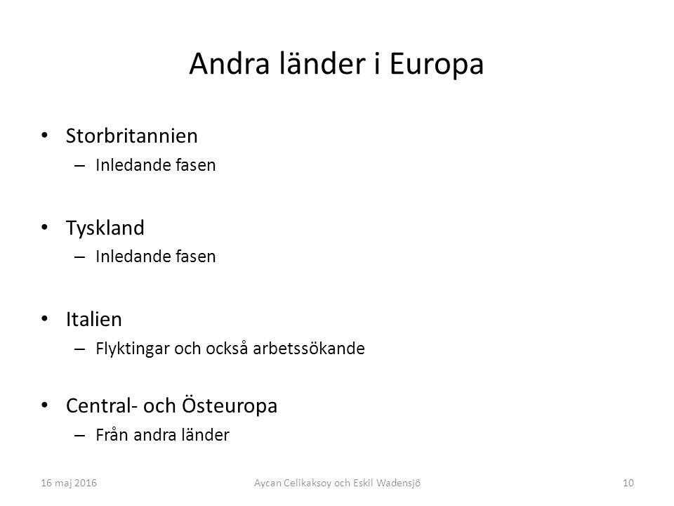 10 Andra länder i Europa Storbritannien – Inledande fasen Tyskland – Inledande fasen Italien – Flyktingar och också arbetssökande Central- och Östeuropa – Från andra länder Aycan Celikaksoy och Eskil Wadensjö16 maj 2016