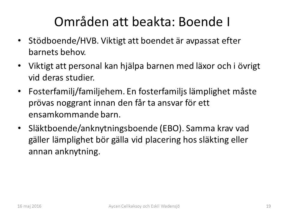 19 Områden att beakta: Boende I Stödboende/HVB.