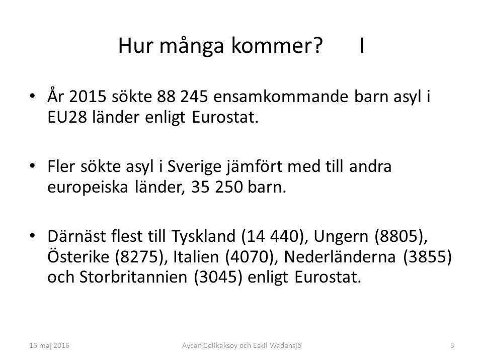 3 Hur många kommer. I År 2015 sökte 88 245 ensamkommande barn asyl i EU28 länder enligt Eurostat.