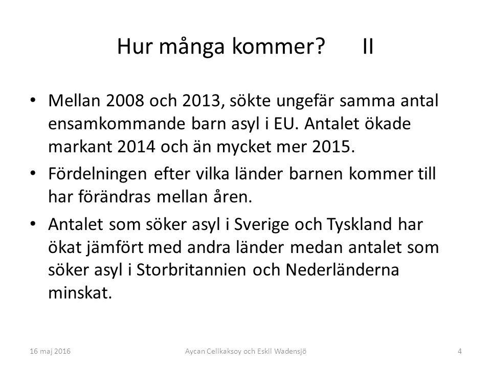 4 Hur många kommer? II Mellan 2008 och 2013, sökte ungefär samma antal ensamkommande barn asyl i EU. Antalet ökade markant 2014 och än mycket mer 2015