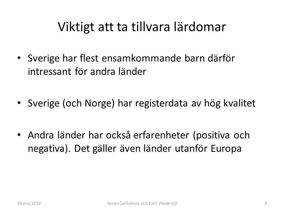 6 Viktigt att ta tillvara lärdomar Sverige har flest ensamkommande barn därför intressant för andra länder Sverige (och Norge) har registerdata av hög kvalitet Andra länder har också erfarenheter (positiva och negativa).