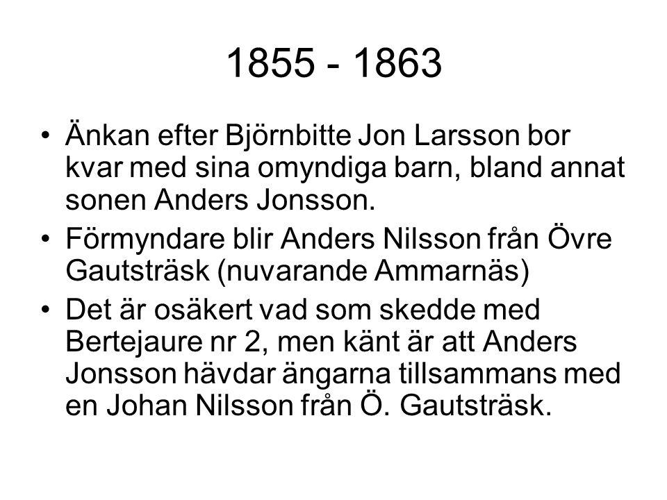 1855 - 1863 Änkan efter Björnbitte Jon Larsson bor kvar med sina omyndiga barn, bland annat sonen Anders Jonsson.