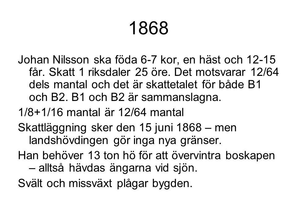 1868 Johan Nilsson ska föda 6-7 kor, en häst och 12-15 får. Skatt 1 riksdaler 25 öre. Det motsvarar 12/64 dels mantal och det är skattetalet för både