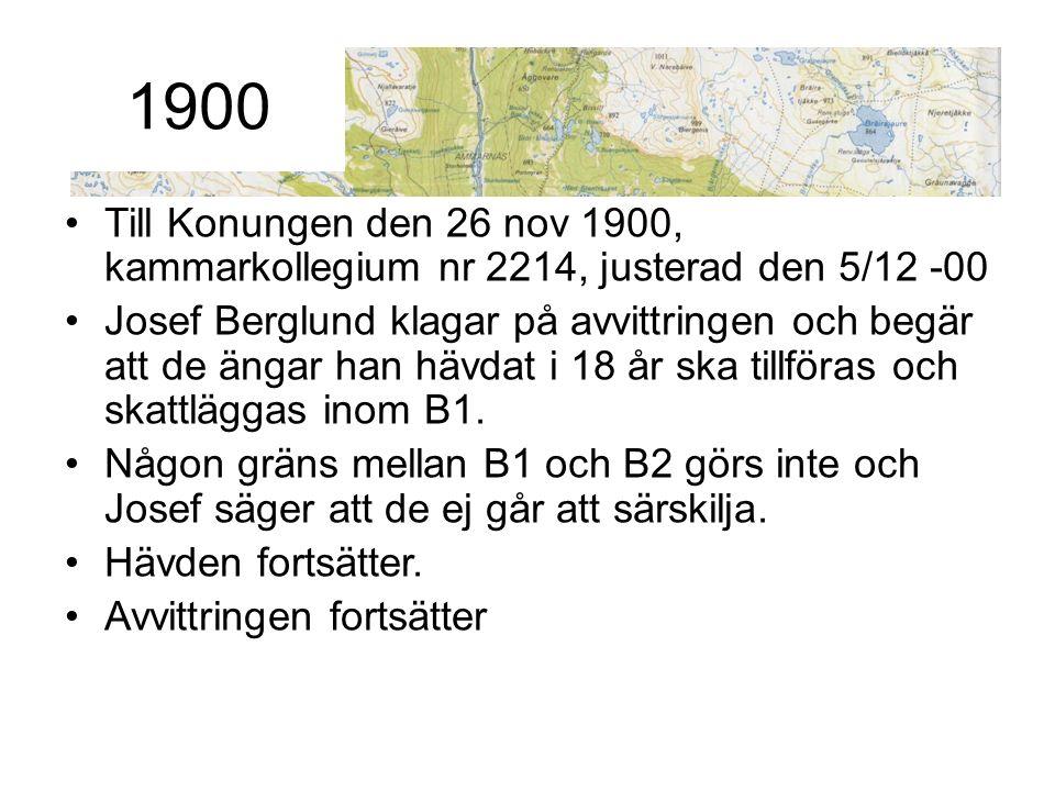 Till Konungen den 26 nov 1900, kammarkollegium nr 2214, justerad den 5/12 -00 Josef Berglund klagar på avvittringen och begär att de ängar han hävdat
