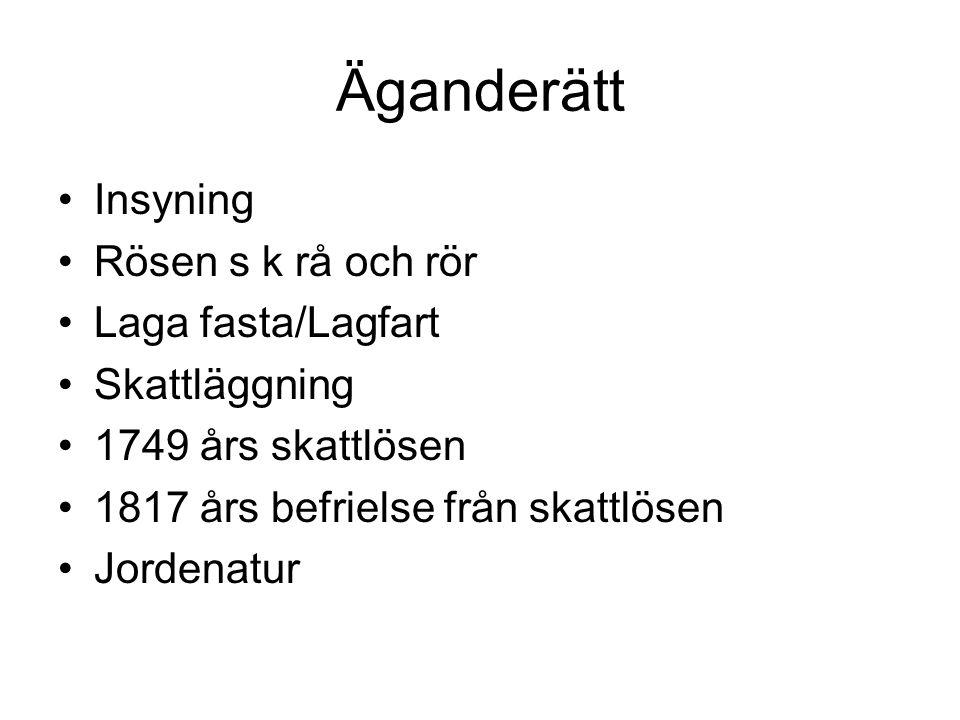 Äganderätt Insyning Rösen s k rå och rör Laga fasta/Lagfart Skattläggning 1749 års skattlösen 1817 års befrielse från skattlösen Jordenatur