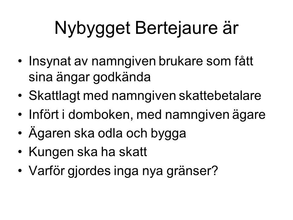 Nybygget Bertejaure är Insynat av namngiven brukare som fått sina ängar godkända Skattlagt med namngiven skattebetalare Infört i domboken, med namngiv