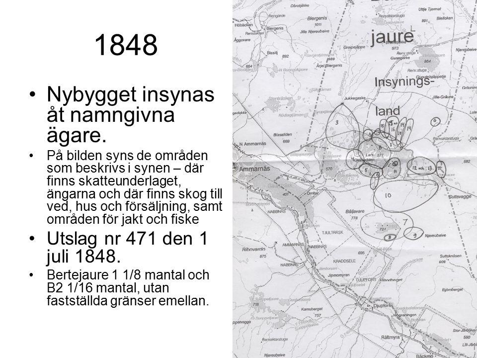 1848 Nybygget insynas åt namngivna ägare. På bilden syns de områden som beskrivs i synen – där finns skatteunderlaget, ängarna och där finns skog till