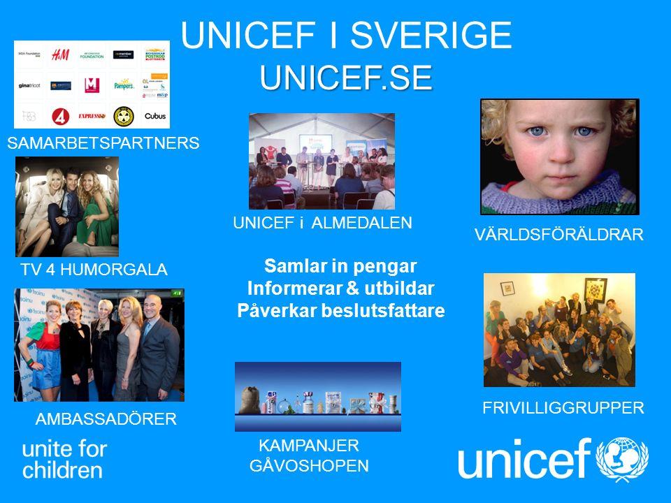 UNICEF.SE UNICEF I SVERIGE UNICEF.SE UNICE Fs Frivillig grupper & Barnrätt sinform atörer Samlar in pengar Informerar & utbildar Påverkar beslutsfatta