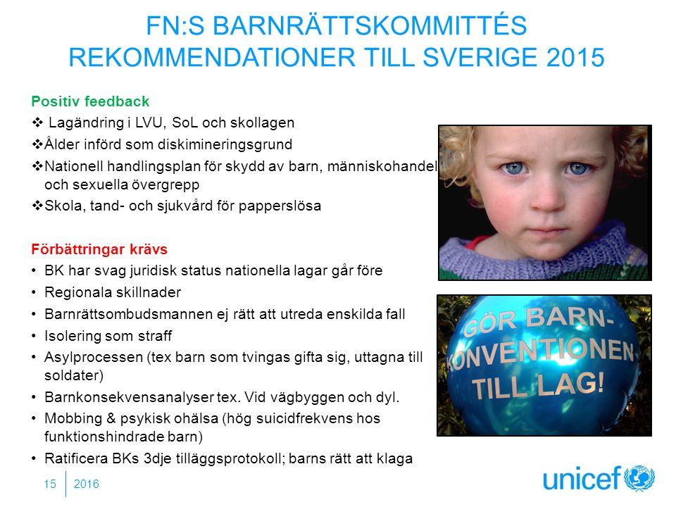 FN:S BARNRÄTTSKOMMITTÉS REKOMMENDATIONER TILL SVERIGE 2015 Positiv feedback  Lagändring i LVU, SoL och skollagen  Ålder införd som diskimineringsgrund  Nationell handlingsplan för skydd av barn, människohandel och sexuella övergrepp  Skola, tand- och sjukvård för papperslösa Förbättringar krävs BK har svag juridisk status nationella lagar går före Regionala skillnader Barnrättsombudsmannen ej rätt att utreda enskilda fall Isolering som straff Asylprocessen (tex barn som tvingas gifta sig, uttagna till soldater) Barnkonsekvensanalyser tex.
