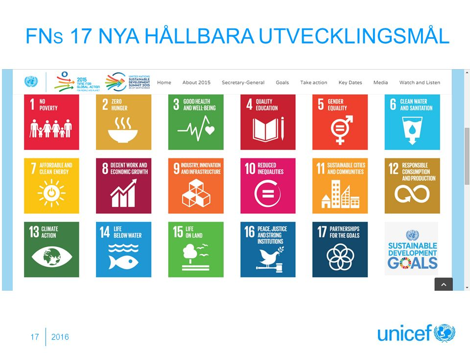 2016 17 FN S 17 NYA HÅLLBARA UTVECKLINGSMÅL