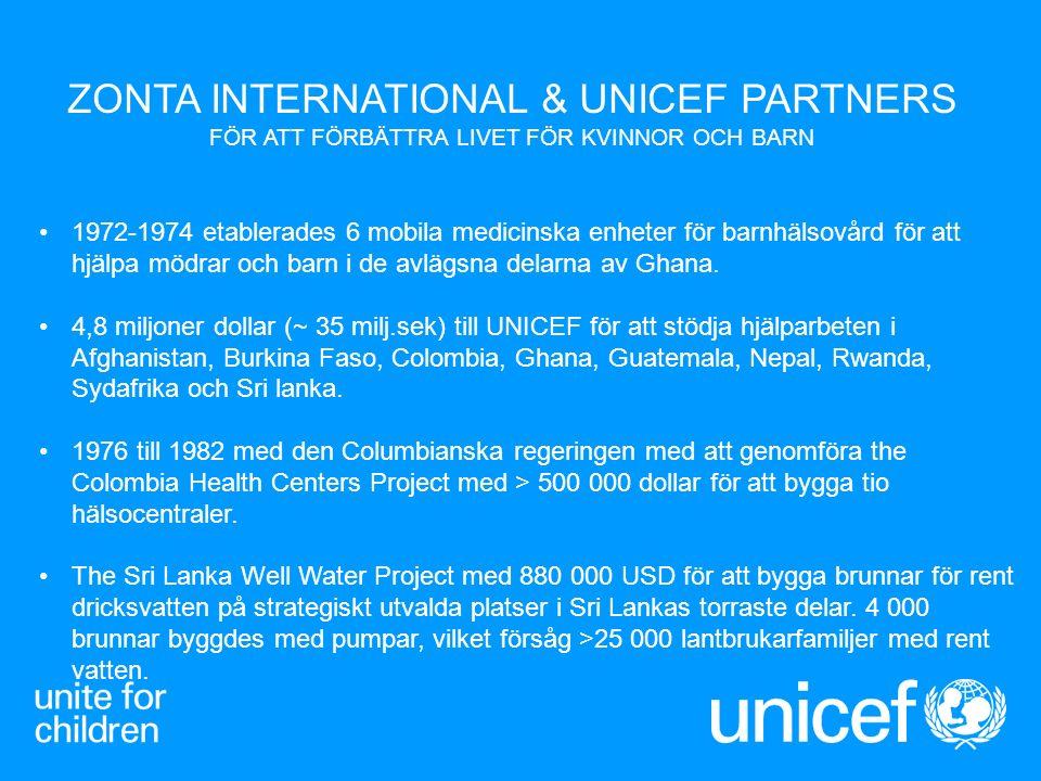 ZONTA INTERNATIONAL & UNICEF PARTNERS FÖR ATT FÖRBÄTTRA LIVET FÖR KVINNOR OCH BARN 1972-1974 etablerades 6 mobila medicinska enheter för barnhälsovård