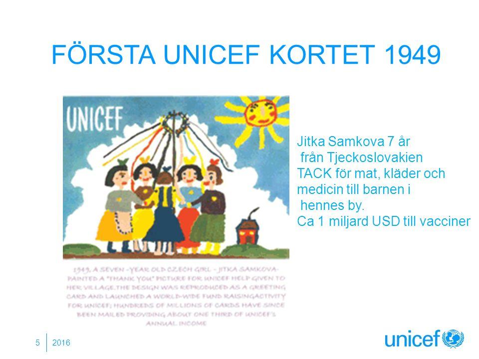 FÖRSTA UNICEF KORTET 1949 2016 5 Jitka Samkova 7 år från Tjeckoslovakien TACK för mat, kläder och medicin till barnen i hennes by. Ca 1 miljard USD ti