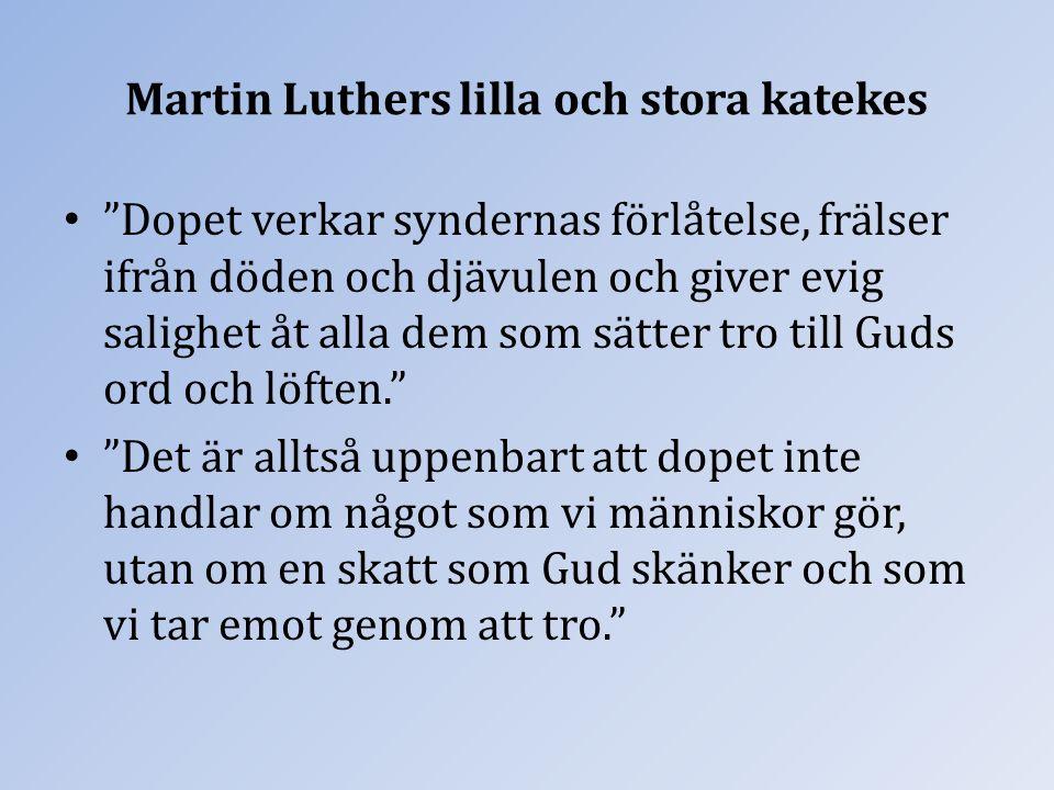 """Martin Luthers lilla och stora katekes """"Dopet verkar syndernas förlåtelse, frälser ifrån döden och djävulen och giver evig salighet åt alla dem som sä"""