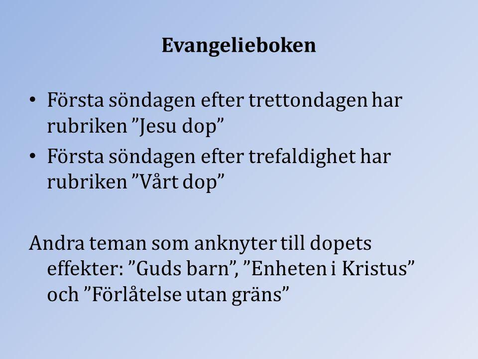 """Evangelieboken Första söndagen efter trettondagen har rubriken """"Jesu dop"""" Första söndagen efter trefaldighet har rubriken """"Vårt dop"""" Andra teman som a"""