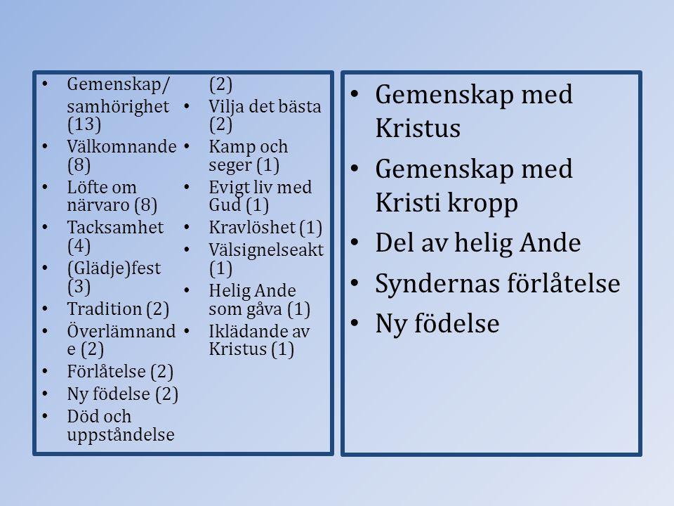 Gemenskap/ samhörighet (13) Välkomnande (8) Löfte om närvaro (8) Tacksamhet (4) (Glädje)fest (3) Tradition (2) Överlämnand e (2) Förlåtelse (2) Ny föd