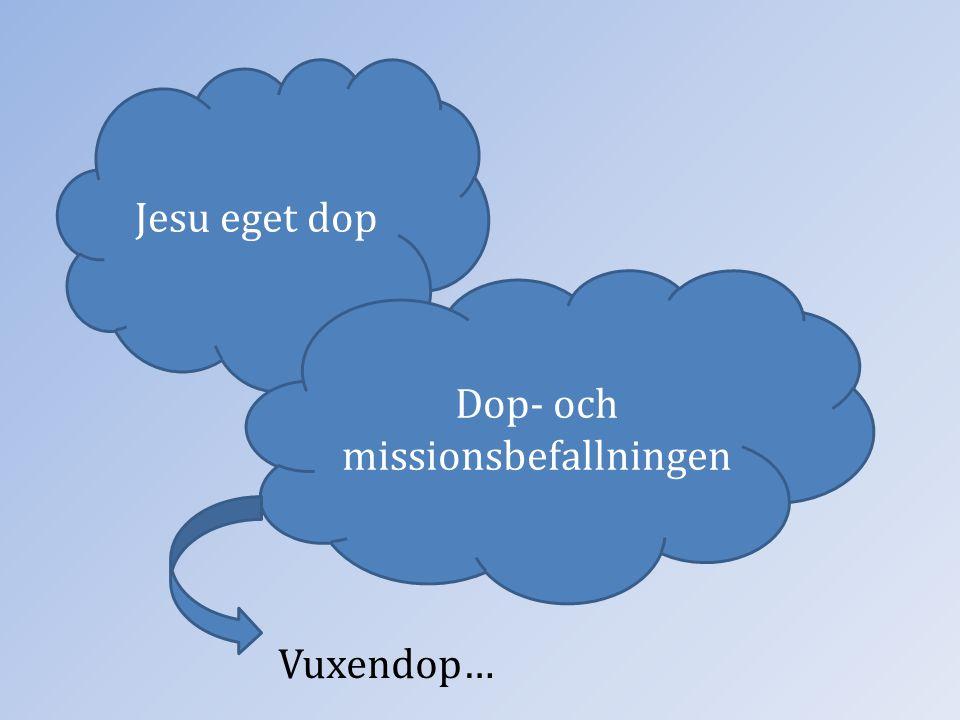Jesu eget dop Dop- och missionsbefallningen Vuxendop…