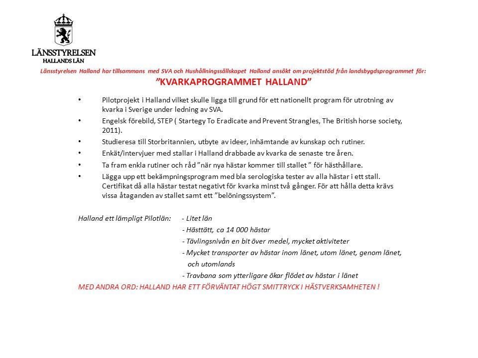 """Länsstyrelsen Halland har tillsammans med SVA och Hushållningssällskapet Halland ansökt om projektstöd från landsbygdsprogrammet för: """"KVARKAPROGRAMME"""