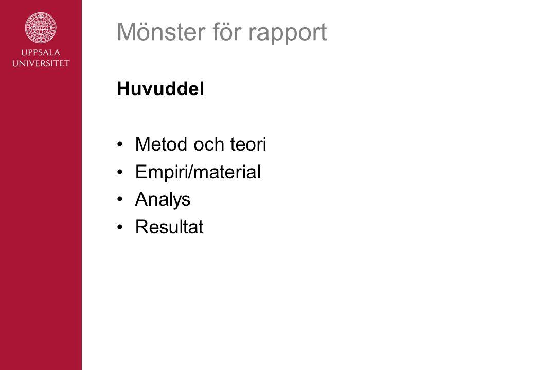 Mönster för rapport Huvuddel Metod och teori Empiri/material Analys Resultat