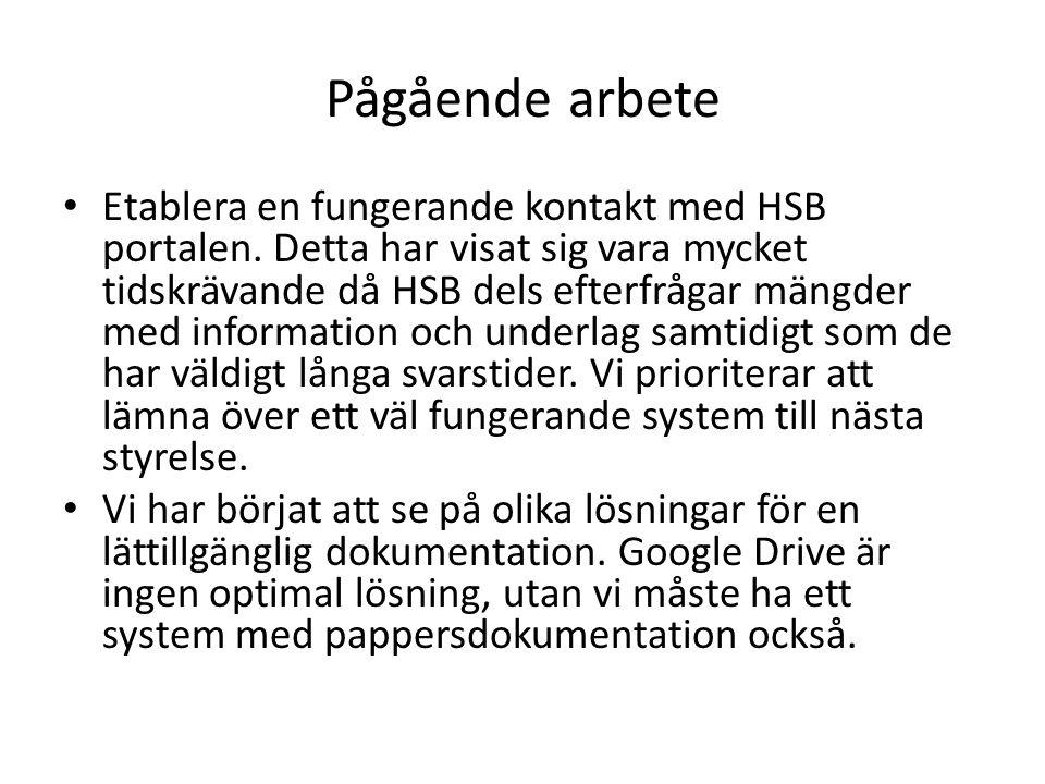 Pågående arbete Etablera en fungerande kontakt med HSB portalen.