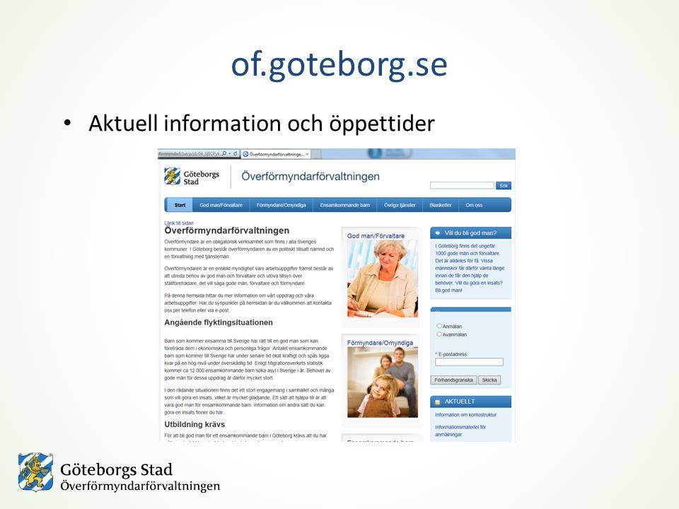 of.goteborg.se Aktuell information och öppettider