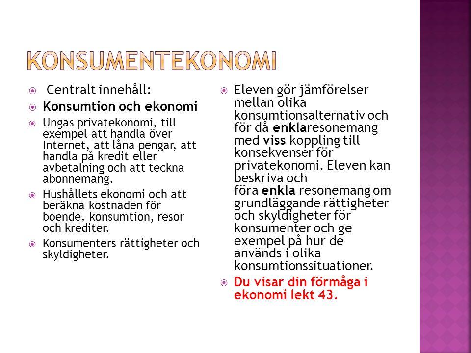  Centralt innehåll:  Konsumtion och ekonomi  Ungas privatekonomi, till exempel att handla över Internet, att låna pengar, att handla på kredit eller avbetalning och att teckna abonnemang.