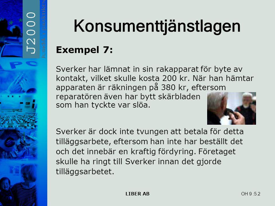 LIBER AB OH 9 Konsumenttjänstlagen Exempel 7: Sverker har lämnat in sin rakapparat för byte av kontakt, vilket skulle kosta 200 kr.