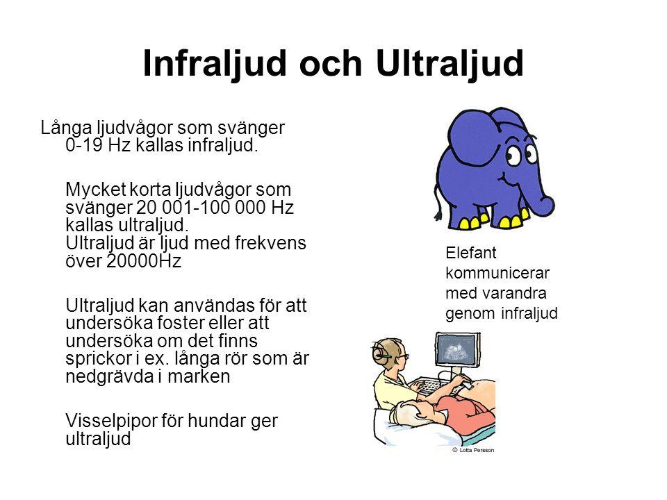 Infraljud och Ultraljud Långa ljudvågor som svänger 0-19 Hz kallas infraljud.
