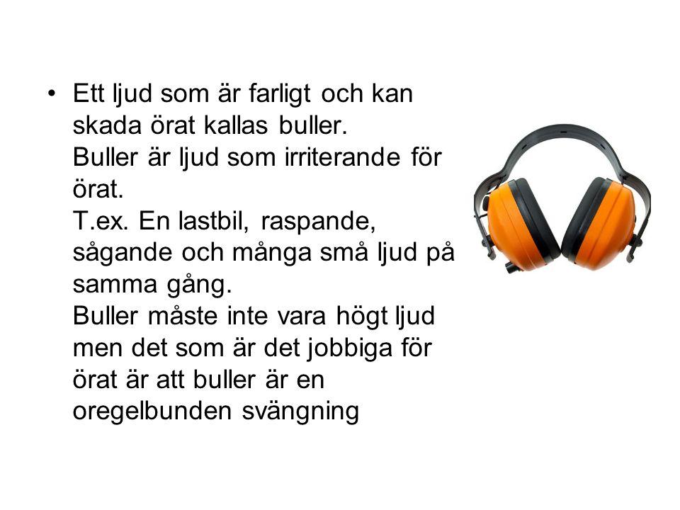 Ett ljud som är farligt och kan skada örat kallas buller.
