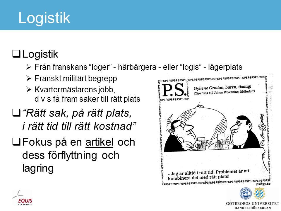 Förbättring av tillverkningssektorns logistik Källa: Hesse och Rodrigue, 2004